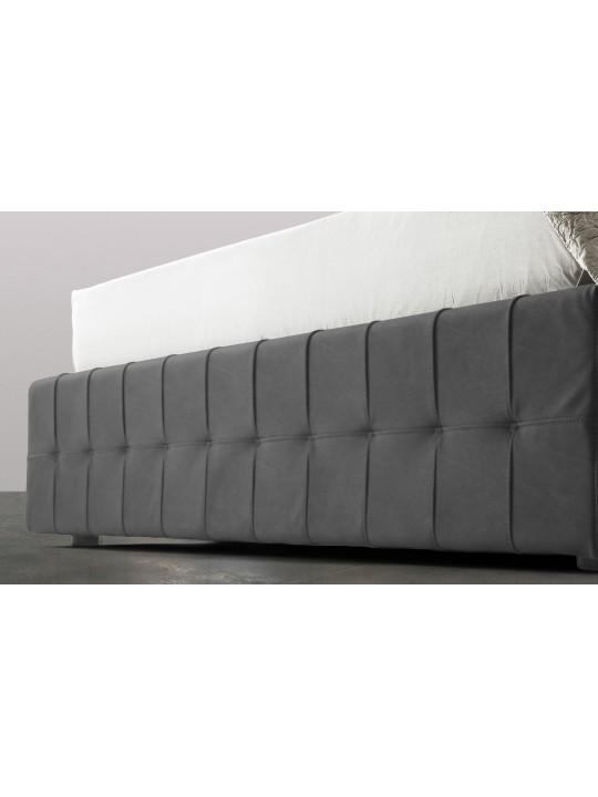 Pat Tapitat Rabatabil cu Lada Depozitare, 160x200 cm, Notturno Promo, Dolce Dormire, Catifea, Gri inchis