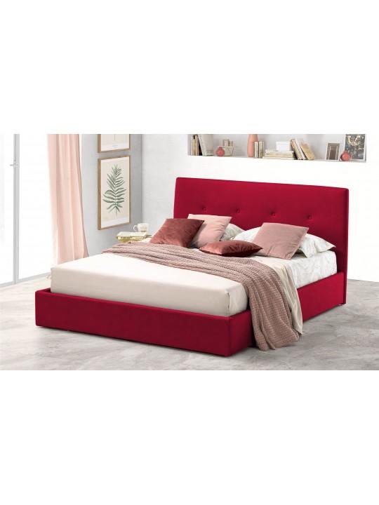 Pat Tapitat pentru Dormitor cu Lada, 180x190, Tiamo Promo Dolce Dormire, Catifea Velluto, Rosu
