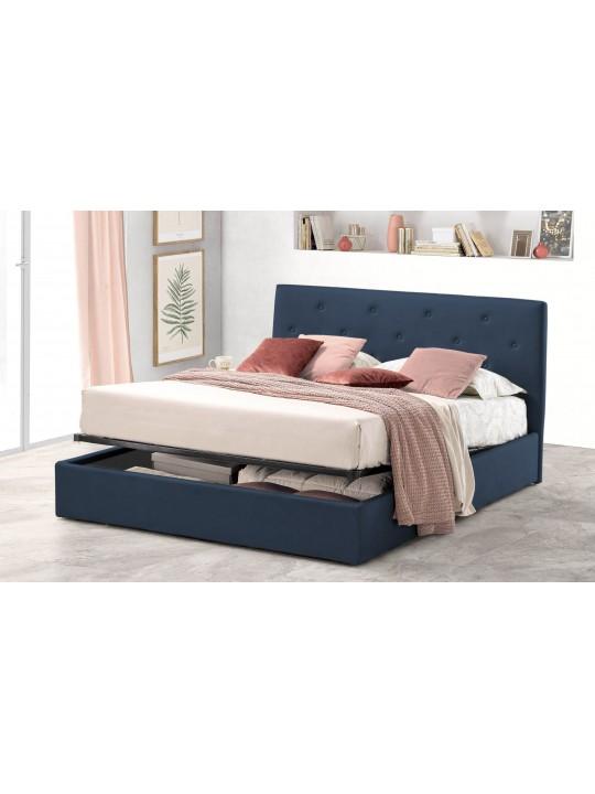Pat Tapitat pentru Dormitor cu Lada, 120x190, Rombo Promo Dolce Dormire, Bleumarin
